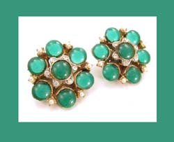 Har Green Glass and Rhinestone Earrings