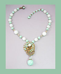 Miriam Haskell Light Green Bead and Filigree Necklace