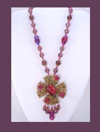 Miriam Haskell Amethyst and Pink Beaded Necklace
