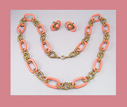 Miriam Haskell Coral Colored Oval Linked Necklace and Earrings