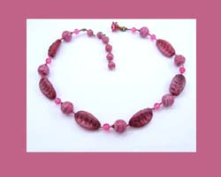 Miriam Haskell Pink Glass Beaded Necklace