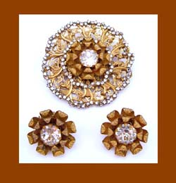 Miriam Haskell Rhinestone Pin and Earrings