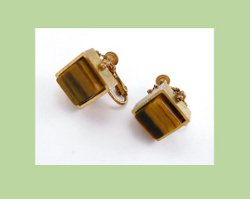 Miriam Haskell Tiger Eye Square Earrings