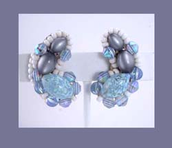 Powder Blue Beaded Earrings
