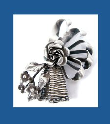 Hobe Sterling Flower Basket Pin