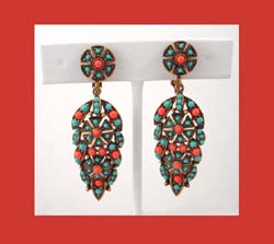 Hobe Turquoise & Coral Colored Plastic Cabochon Earrings