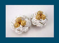 Hobe White Glass Beaded Earrings