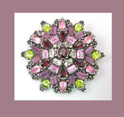 Hollycraft Amethyst and Olivine Rhinestone Pin