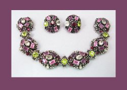 Hollycraft Olivine and Amethyst Rhinestone Bracelet and Earrings