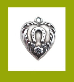Lucky Horseshoe Sterling Puffy Heart Charm Front
