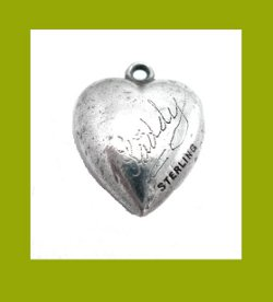 Lucky Horseshoe Sterling Puffy Heart Charm Signature