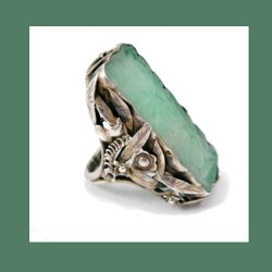 Large Carved Jade Silver Ring