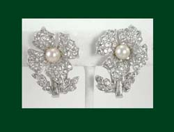Jomaz Rhinestone and Glass Pearl Flower Earrings