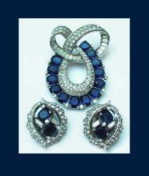 Early Jomaz Rhinestone Brooch & Earrings