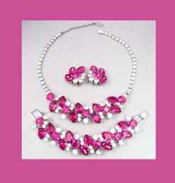 Juliana Fuchsia Rhinestone Set