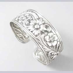 S. Kirk and Sons Sterling Floral Cuff Bracelet