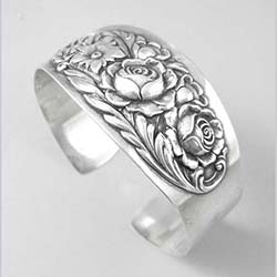 Kirk and Sons Sterling Floral Cuff Bracelet