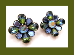 Kramer Sapphire Blue and Green Rhinestone Earrings
