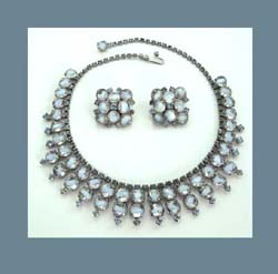 Kramer Light Blue Givre Rhinestone Necklace and Earrings