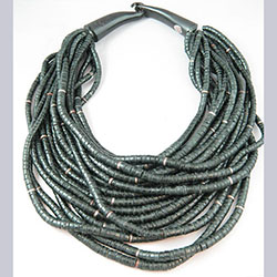 Gerda Lynggarrd for Monies Black Coconut Bead Multi Strand Necklace