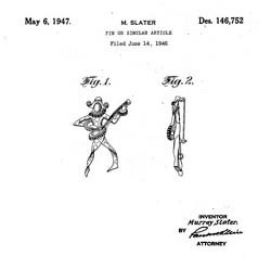 Mandle Arlequin Sterling Pin Patent