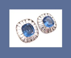 Jomaz Classic Sapphire Blue and Clear Rhinestone Earrings