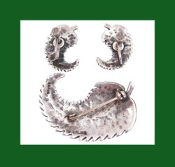 Ming's Sterling Silver Palm Fronds Pin and Earrings Back