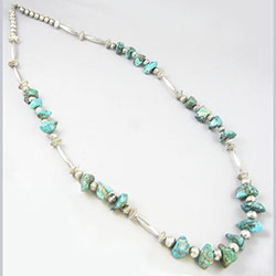 Navajo Sterling Bench Bead and Turquoise Nugget Necklace