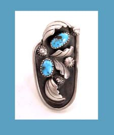 Navajo Sterling and Turquoise Ring Signed Mary