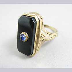 Onyx and Natural Sapphire 10k Gold Ring