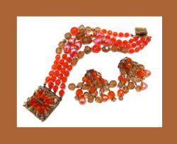 West Germany Beautifully Beaded Bracelet and Earrings