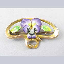 14k Art Nouveau Enamel Pansy Watch Pin
