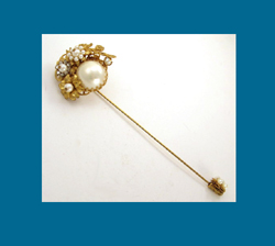 Glass Pearl and Filigree Large Stick Pin