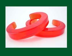 Red Prystal Bakelite Cuff Bracelets