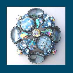 Regency Spectacular Blue Rhinestone Pin