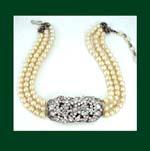 Vintage Glass Pearl & Rhinestone Choker