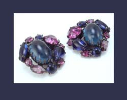 Schreiner (unsigned) Sapphire Blue and Dark Amethyst Rhinestone Earrings