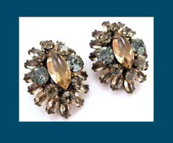 Schreiner Topaz and Blue Rhinestone Earrings