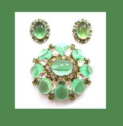 Schreiner (unsigned) Peridot Glass Cabochon Pin and Earrings