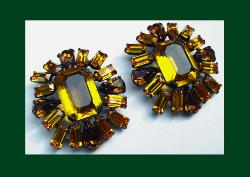Schreiner (unsigned) Topaz Rhinestone Earrings