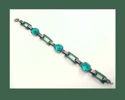 Glorious Green Enamel and Cabochon Sterling Bracelet