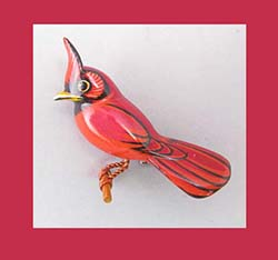 Takahashi Male Cardinal Bird Pin