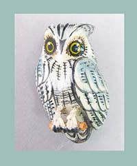 Takahashi Gray Screech Owl Bird Pin with Card Front