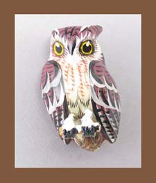 Takahashi Brown Screech Owl Bird Pin