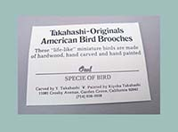 Takahashi Gray Screech Owl Bird Pin Card