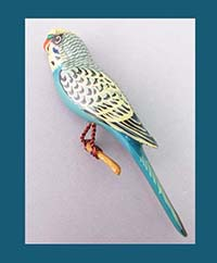 Takahashi Blue Parakeet Bird Pin