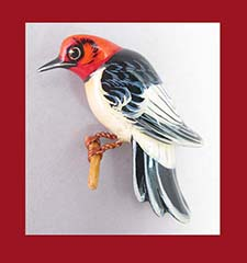 Takahashi Red Headed Woodpecker Pin