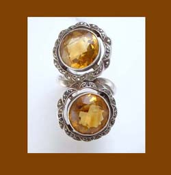 Topaz Rhinestone Sterling Ring