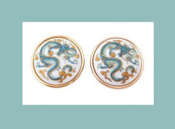 Toshikane Japan Porcelain Dragon Earrings
