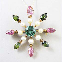 3.65 cttw Tourmaline and Pearl 14k Gold Watch Pin/Pendant